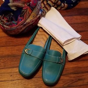 Aqua Leather Slides Loafer style Size 8
